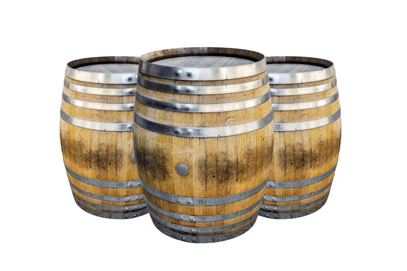 Groups old wooden barrel for champagne, wine, whiskey, rum, beer, with steel ring royalty free stock image