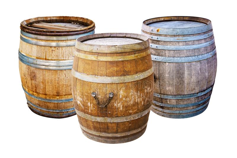 Groups old wooden barrel for champagne, wine, whiskey, rum, beer, with steel ring stock photography