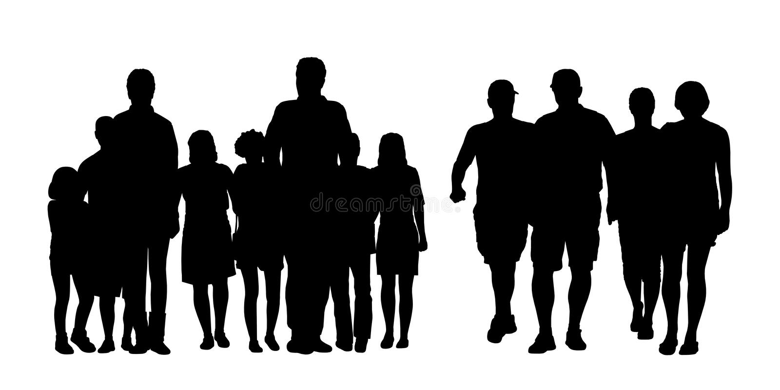Groups of people walking outdoor silhouettes set 1 stock illustration