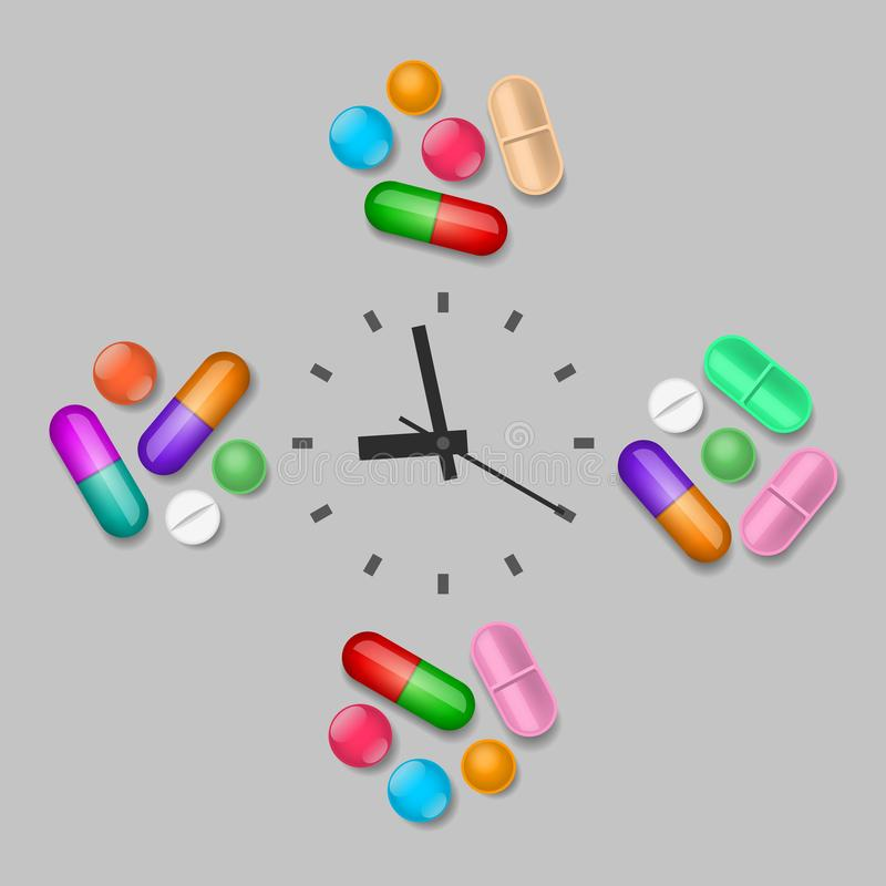 Time of medicines intake. Groups of pills are near the clock. Scheduled time of medicines intake royalty free illustration