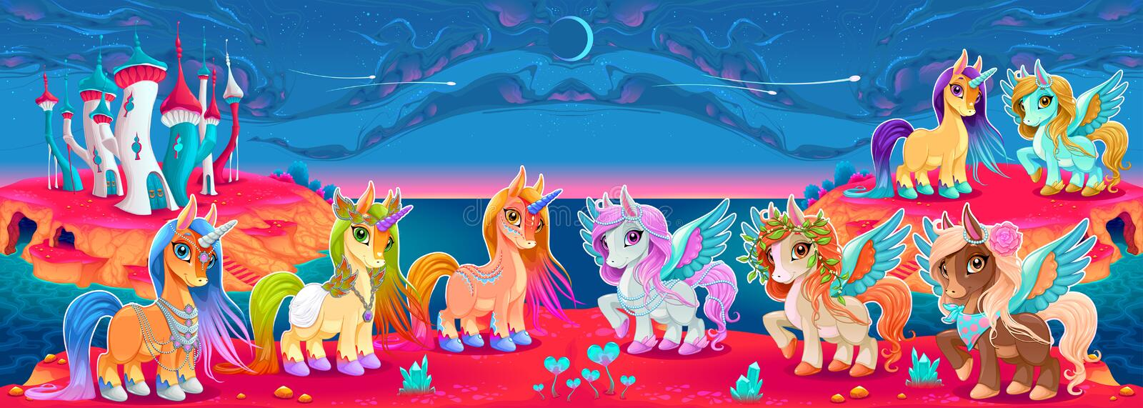 Groups of unicorns and pegasus in a fantasy landscape. Vector cartoon illustration royalty free illustration