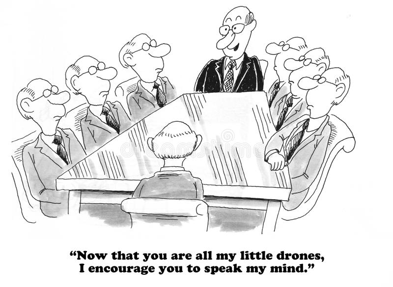 GroupThink. Business cartoon about a team that looks and thinks exactly alike royalty free stock photography