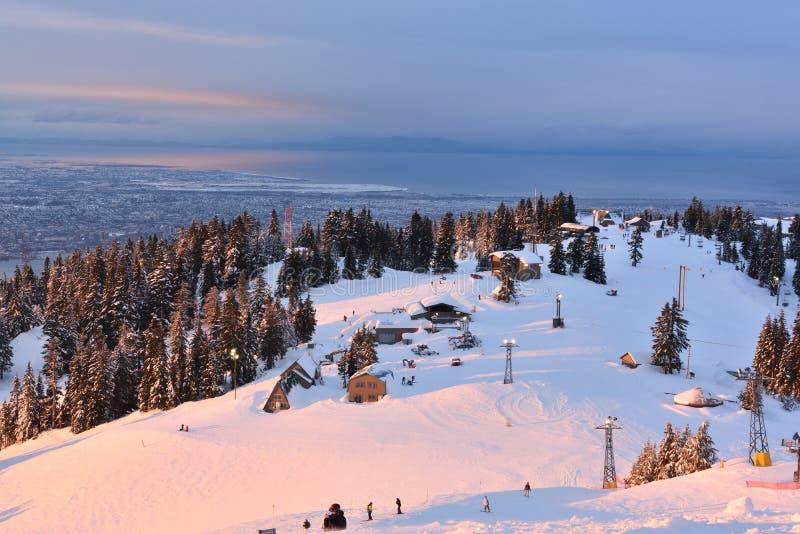 Download Grouse Mountain Winter Sunrise Stock Photo