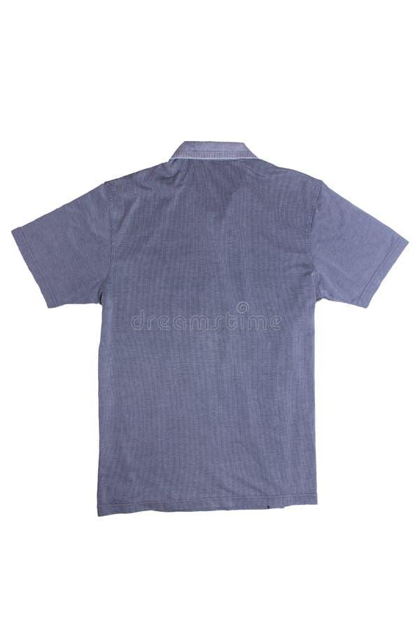 Grov bomullstvillskjortor isolerade Närbild av en stilfull randig jeansskjorta för män som isoleras på en vit bakgrund Tillbaka p royaltyfri bild