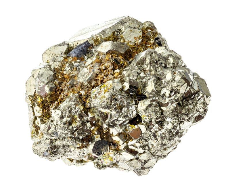 grov järnpyrit (svavelpyrit) vaggar på vit arkivbilder