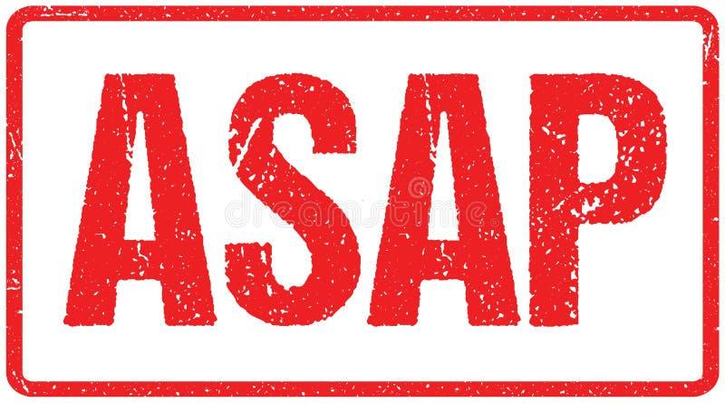 Grova bokstäver för Asap röd skyddsremsa som isoleras på vit Röd efterföljd för stämpel för färgpulverGrungegummi vektor illustrationer