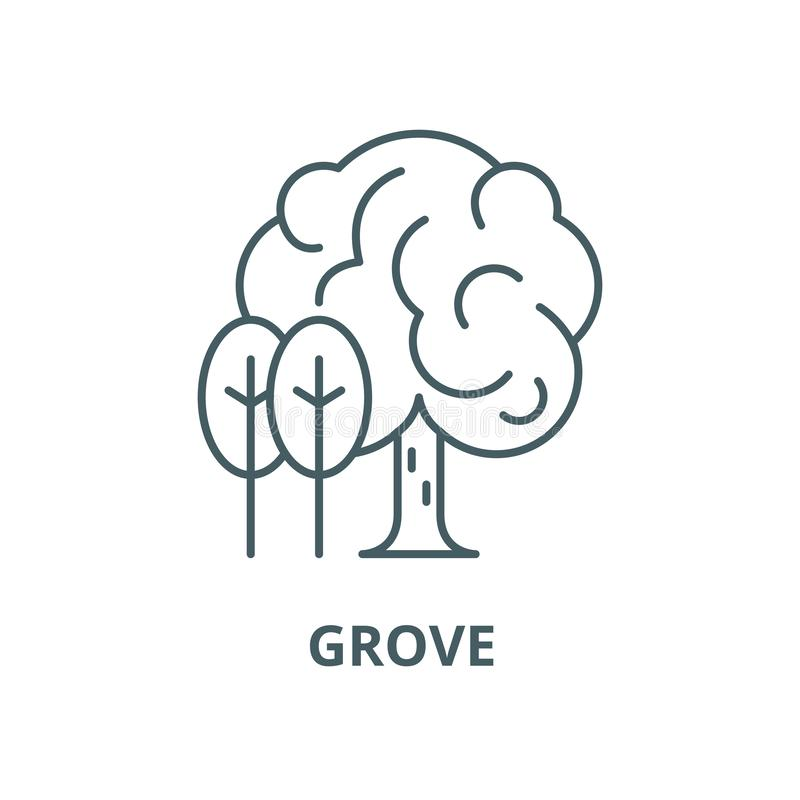 Grove vector line icon, linear concept, outline sign, symbol. Grove vector line icon, outline concept, linear sign vector illustration