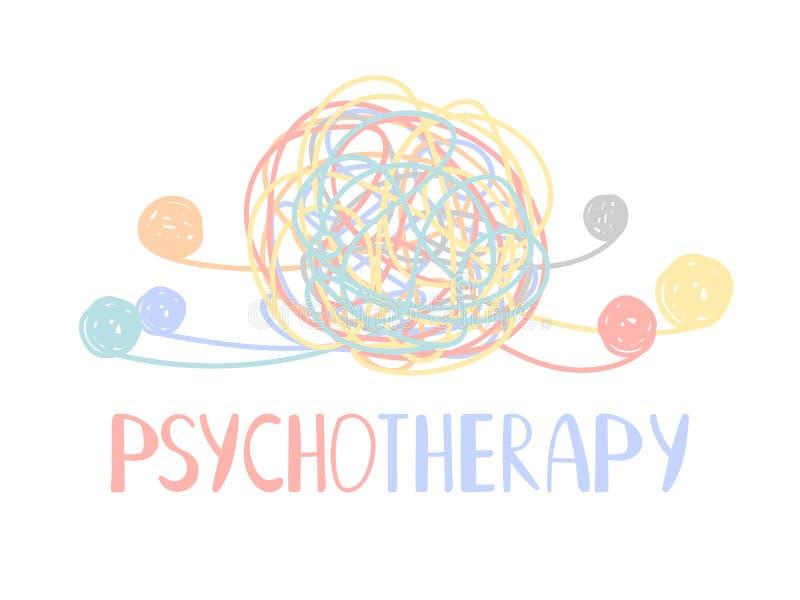 Groviglio astratto di colore di psicoterapia dei disturbi mentali illustrazione vettoriale