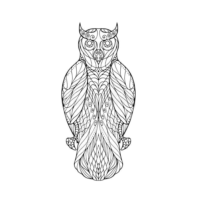 Groviglio di zen del gufo royalty illustrazione gratis