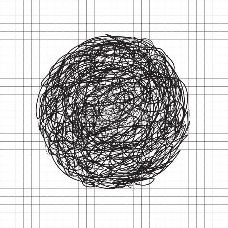Groviglio disegnato a mano astratto del cerchio di colore del nero di schizzo dello scarabocchio, SCR illustrazione di stock