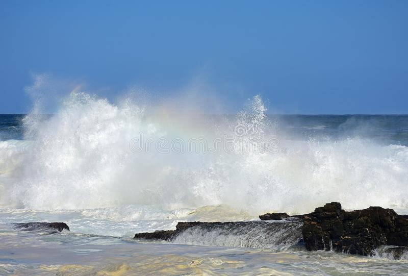 Grovt hav & höga vågor, flod för storm` s, Tsitsikamma, Sydafrika royaltyfria bilder
