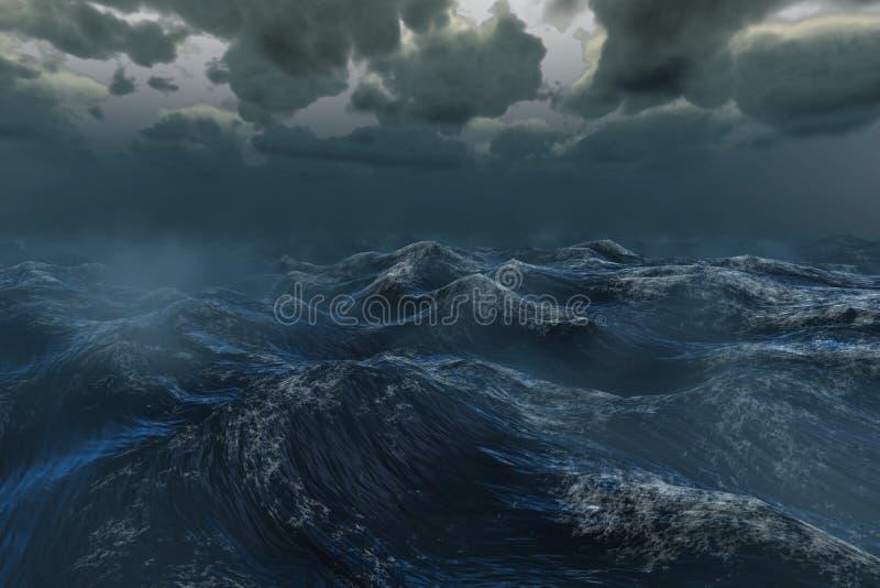 Grovt stormigt hav under mörk himmel vektor illustrationer