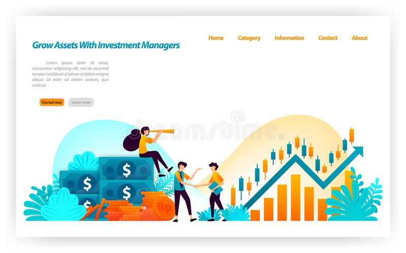 Grow asset of financial investors with market investment choices with finance and investment managers. money to stock. vector illu. Stration concept for landing vector illustration