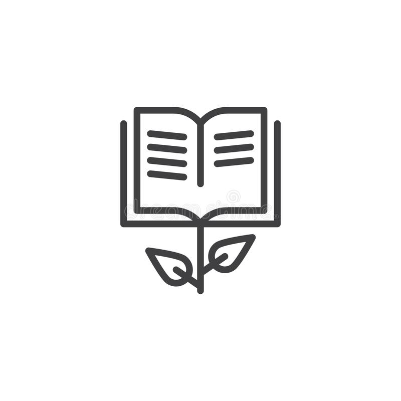 Grow book line icon. Outline vector sign, linear style pictogram isolated on white. Symbol, logo illustration. Editable stroke royalty free illustration