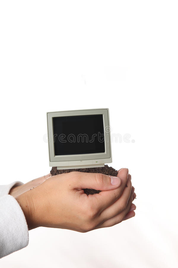 Download Grow A Computer In His Hands Stock Image - Image: 39272695