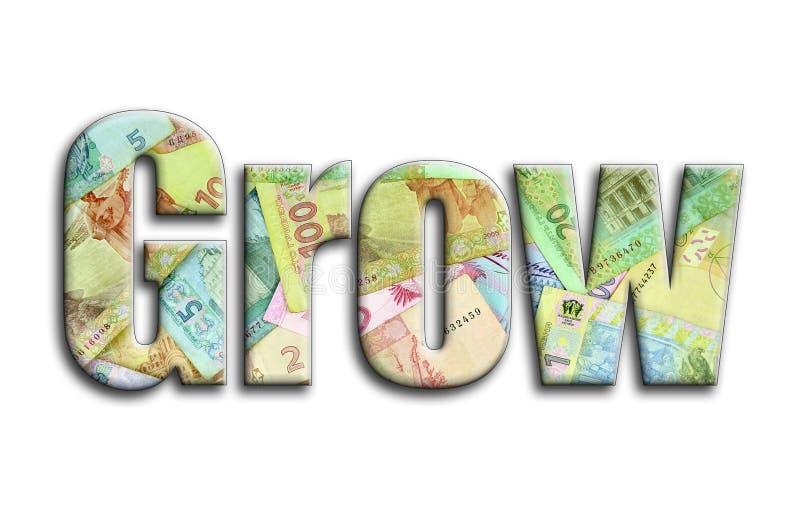 grow Die Aufschrift hat eine Beschaffenheit der Fotografie, die viele ukrainischen Haushaltpläne darstellt vektor abbildung
