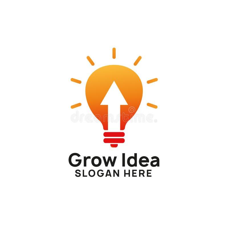 grow idea logo design template. bulb icon symbol design royalty free illustration