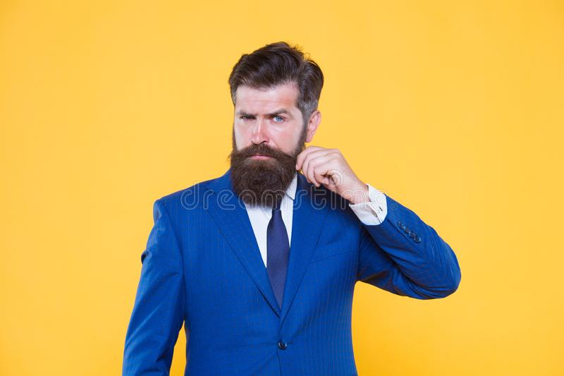 Grow mustache. businessman formal suit. handsome bearded man ceo. Barbershop and stylist. successful and charismatic. Lawyer. leadership concept. Business royalty free stock photography