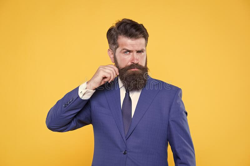 Grow mustache. businessman formal suit. handsome bearded man ceo. Barbershop and stylist. successful and charismatic. Lawyer. leadership concept. Business stock photo