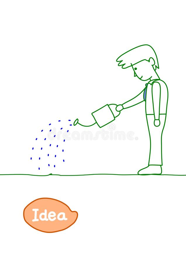 Grow the seed of idea. Man growing the seed of idea royalty free illustration