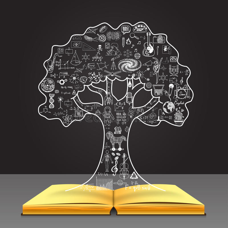 Grow your knowledge concept. Education doodles in the tree shape on open book. royalty free illustration