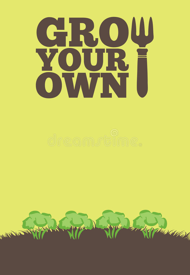 Grow Your Own poster_Brocolli vector illustration