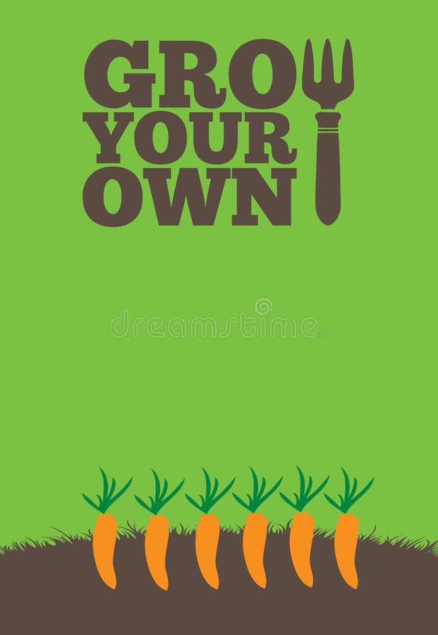 Grow Your Own poster_Carrots royalty free illustration