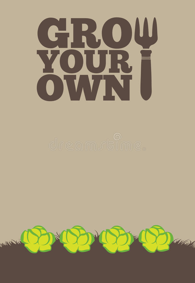 Grow Your Own poster_Lettuce royalty free illustration
