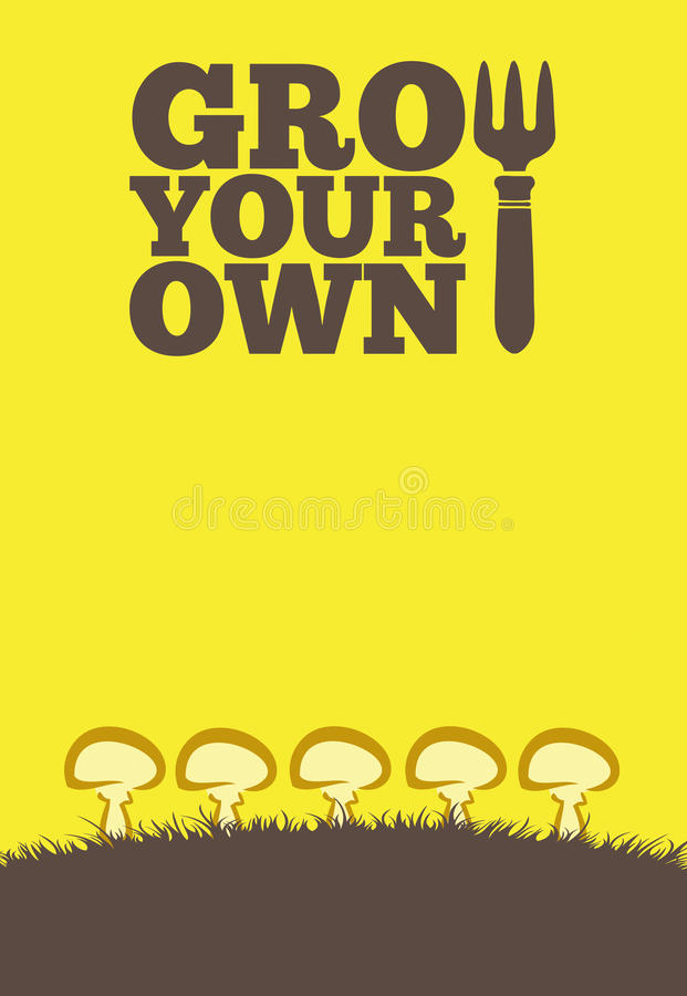 Grow Your Own poster_Mushrooms stock illustration