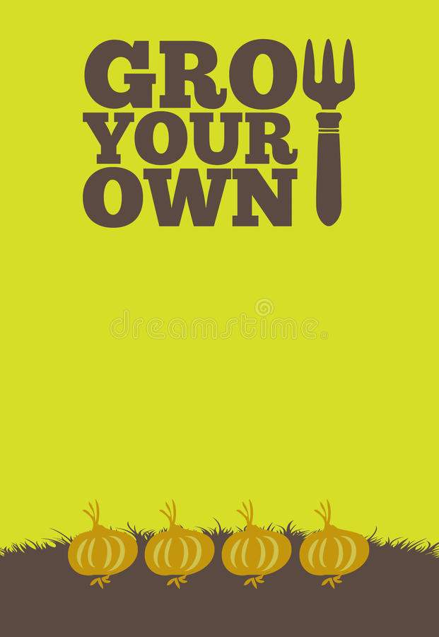 Grow Your Own poster_Onions vector illustration