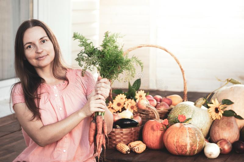 Grower rich harvest of vegetables, Nice girl gardener huge harvest for Thanksgiving royalty free stock images