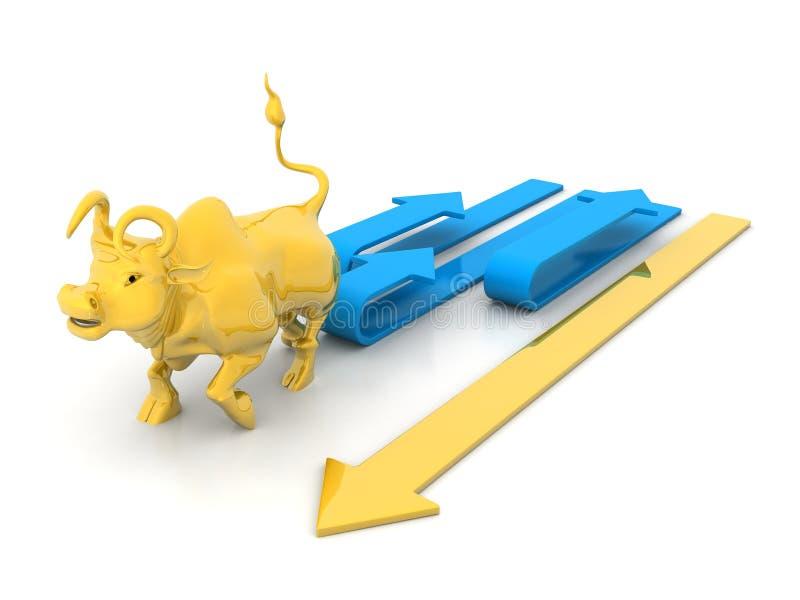 Growing Arrow With Bull vector illustration