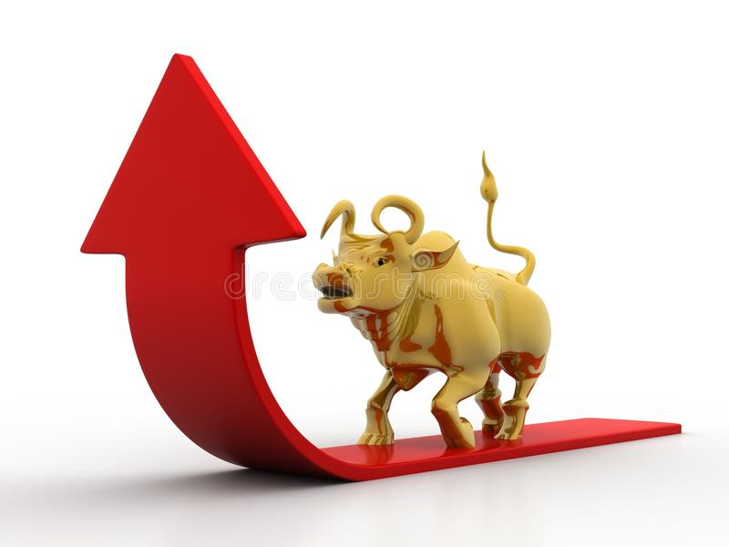 Growing Arrow With Bull royalty free illustration