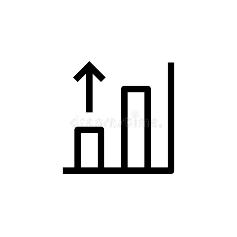 Growing bar chart icon design with rising up arrow symbol. simple clean line art professional business management concept vector. Illustration design. eps 10 vector illustration
