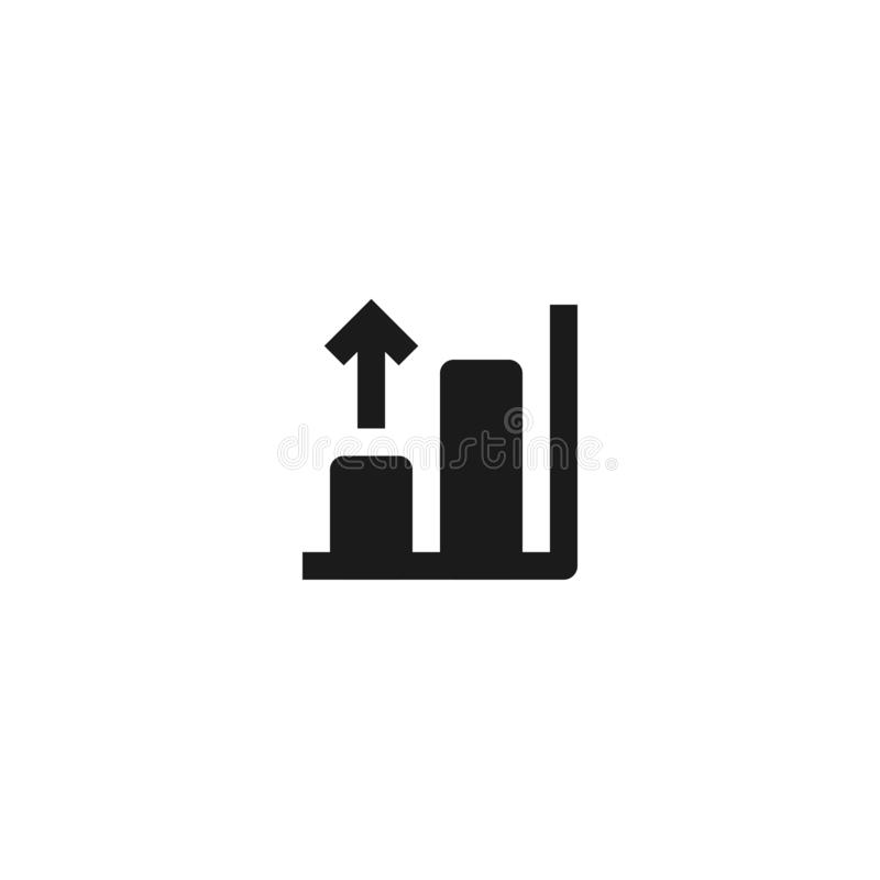Growing bar chart icon design with rising up arrow symbol. simple clean professional business management concept vector. Illustration design. eps 10 stock illustration