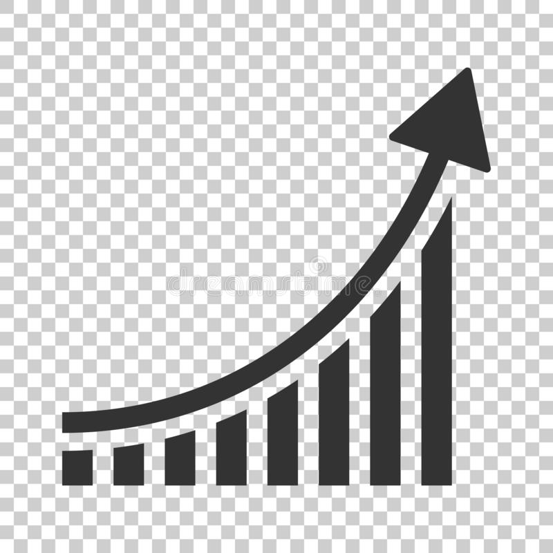 Free Growing Bar Graph Icon In Flat Style. Increase Arrow Vector Illustration On Isolated Background. Infographic Progress Business Co Stock Image - 130598901