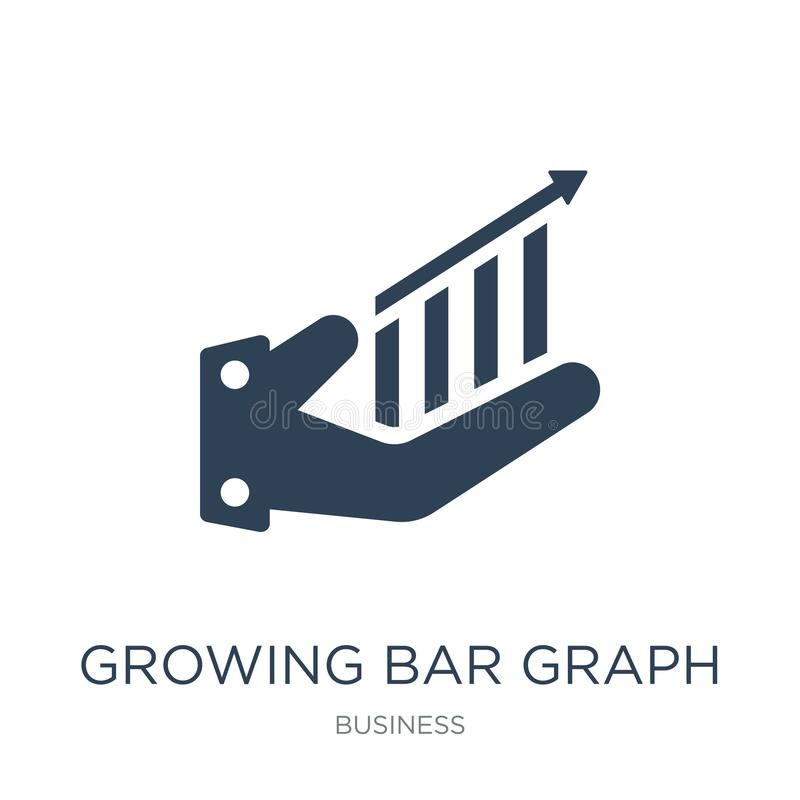 growing bar graph icon in trendy design style. growing bar graph icon isolated on white background. growing bar graph vector icon vector illustration