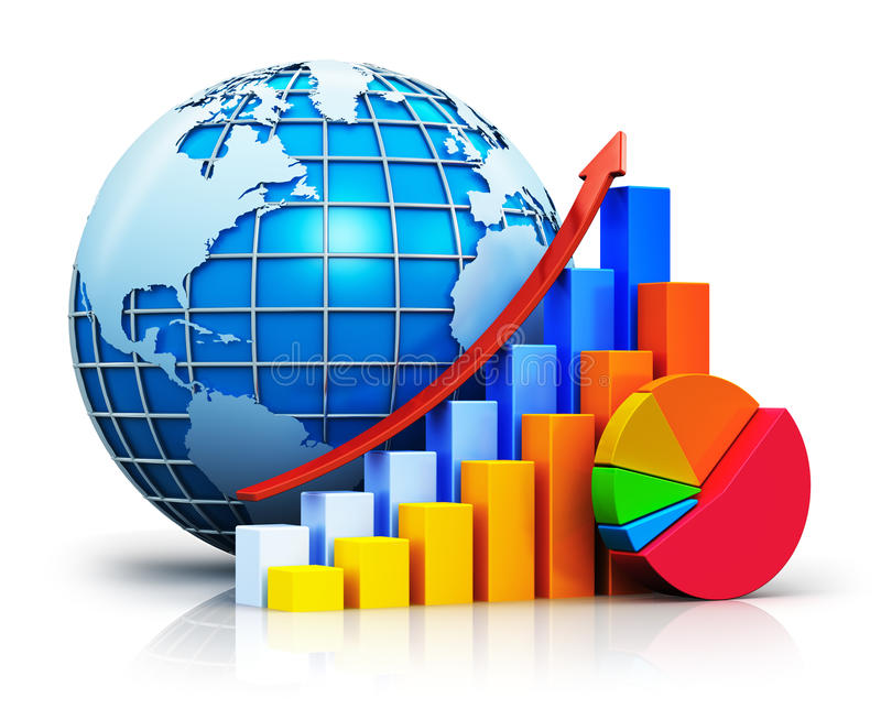 Growing bar graphs, pie chart and Earth globe royalty free illustration