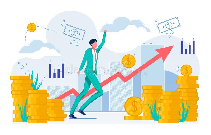 Growing Business Concept, Increasing Income Flat. stock illustration
