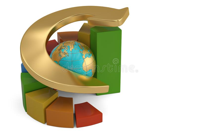 Growing business concept pie chart with arrow and globe. 3D illustration. royalty free illustration