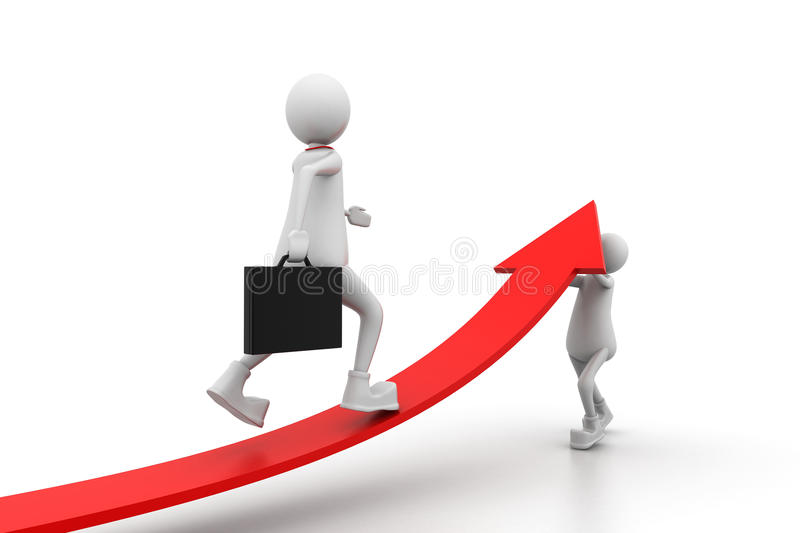 Growing business graph with people royalty free illustration