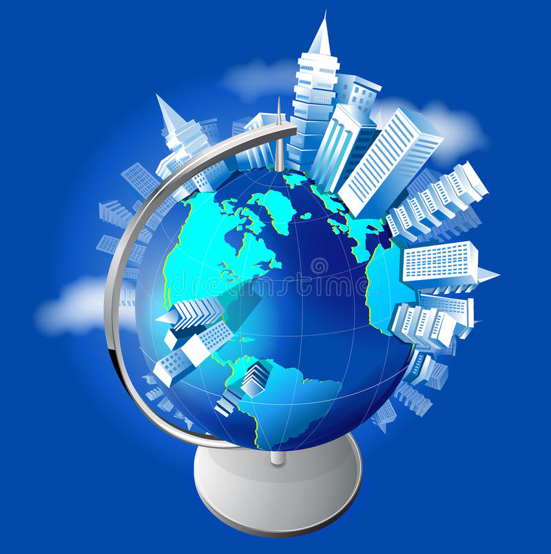 Growing cities on the globe. Abstract of a cities growing arond the globe royalty free illustration