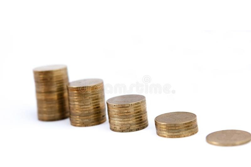 Growing coins stacks on white background. Financial growth, saving money, business finance wealth and success concept stock photography
