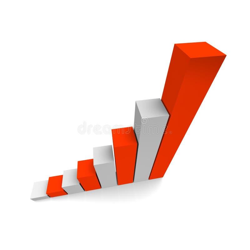 Growing column graph 3d vector illustration