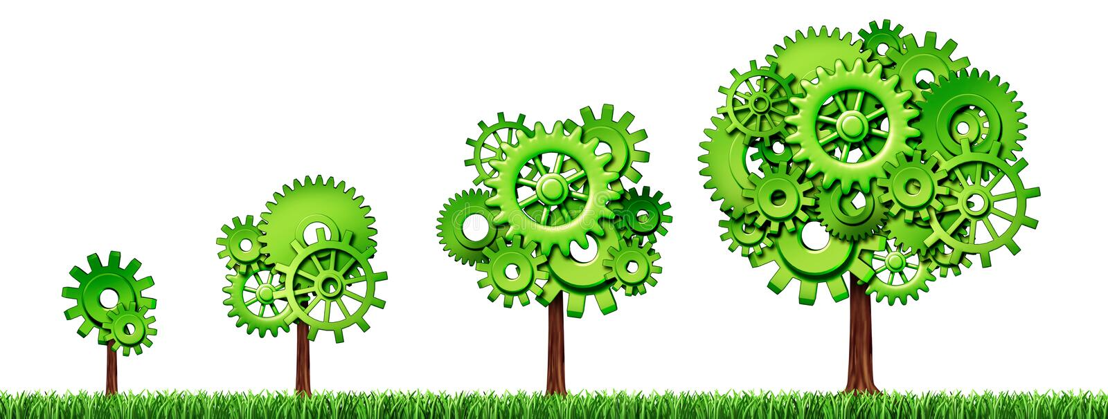Growing economy symbol with trees and gears stock illustration