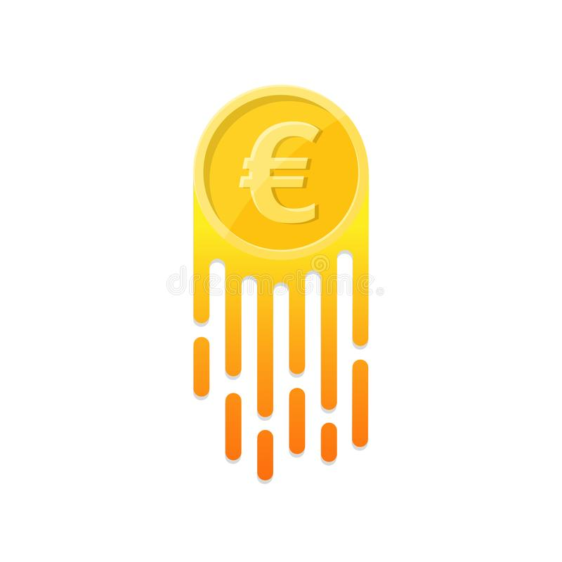The growing euro symbol. On the isolated white background. The flying coin. A design element in flat style. Vector illustration vector illustration