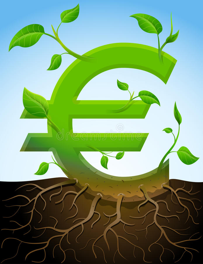 Growing Euro Symbol Like Plant With Leaves And Roo Stock Photo