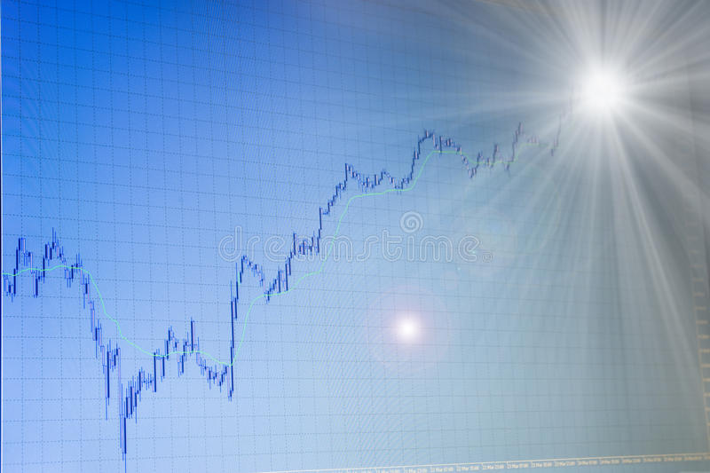 Growing forex chart with light in the end. Blue growing forex stock chart on blue backgroud on monitor of terminal is going to bright light in the end royalty free stock images