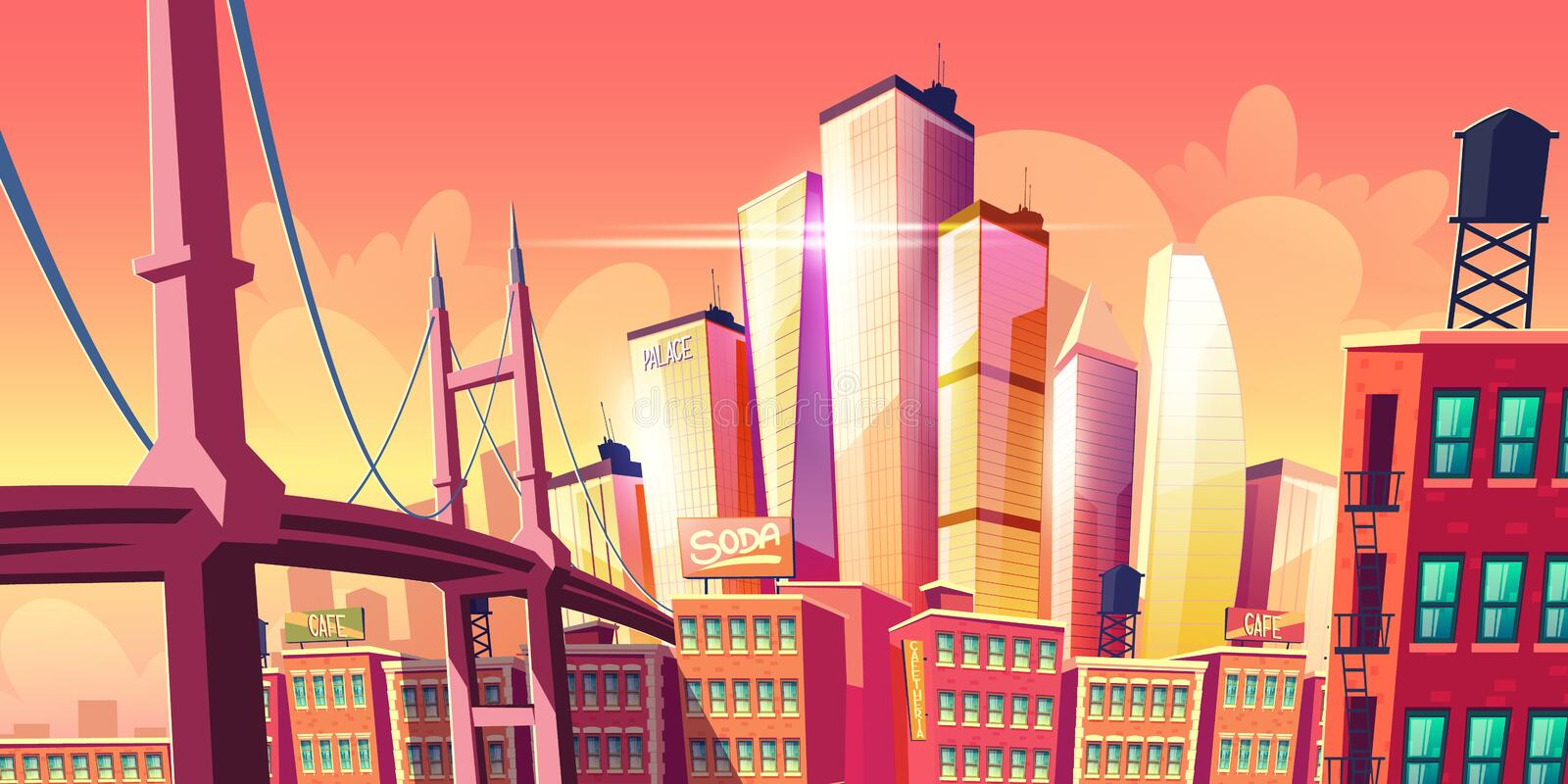 Growing future city metropolis background, bridge. Growing future city metropolis background with bridge at old district houses, retro architecture buildings and stock illustration