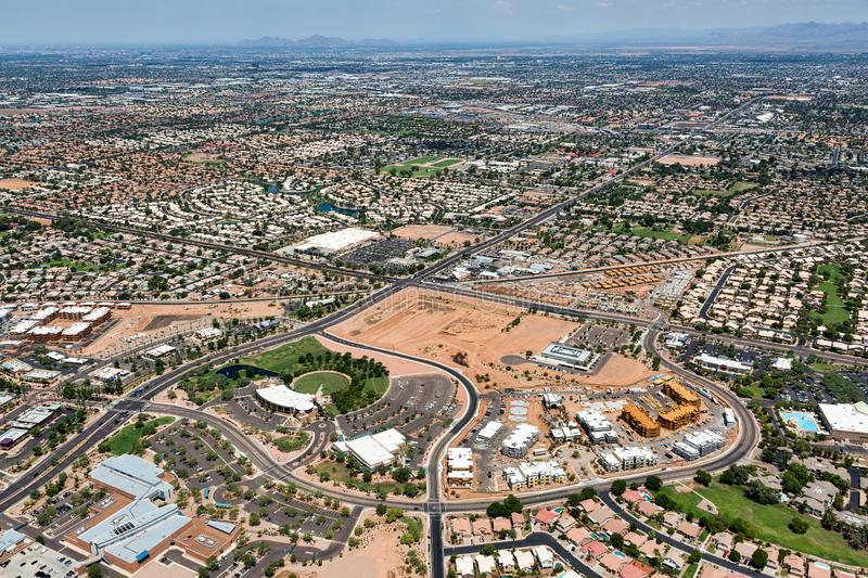Growing Gilbert, Arizona from farming to vibrant bedroom community. Growing Gilbert, Arizona viewed from above looking from the SE to the NW royalty free stock images